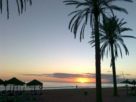 Spanien, solnedgång